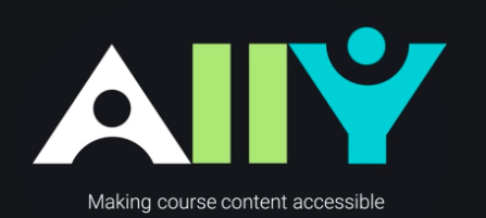 "IMAGE showing the Ally logo which is the word ""ally"" in various colors. Below the logo is the statement ""making course content accessible"" in white font."